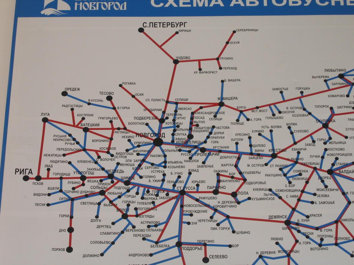 Схема автобусных маршрутов от Великого Новгорода.